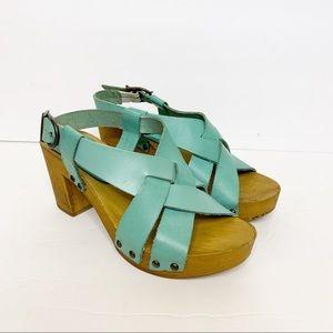 Sundance Salterello Wooden Leather Sandal 36/5.5